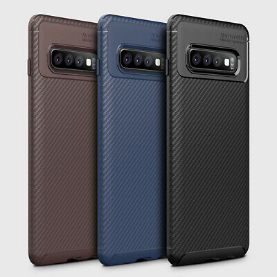 Luxury Slim Shockproof Carbon Fiber Silicone Case Cover For Samsung Galaxy S10+