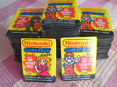 Lot of 100 Nintendo Game Pack Trading Card Wax Packs 1989 Topps sealed