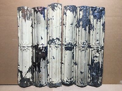 "6pc Lot of 24"" by 4.5"" Antique Ceiling Tin Vintage Reclaimed Salvage Art Craft"