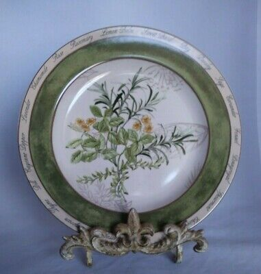 """American Atelier """" Bouquet Garni"""" Basil and Rosemary 8 inch Salad Plate"""