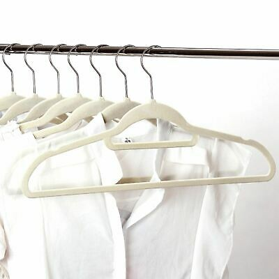 150 Pack Non-Slip Space Saving Velvet Flocked Coat Clothes Trouser Hangers Cream