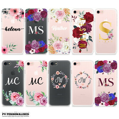 Initials Name Personalised Floral Soft Silicone Case Cover Iphone 6 7 8 X Xs Xr