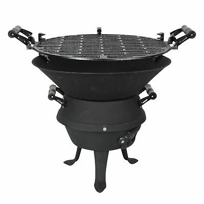 Cast Iron Mini BBQ with Height Adjustment Cooking Grill, Portable Carry Handles