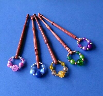 5 Wooden Turned Lace Bobbins with Spangles.