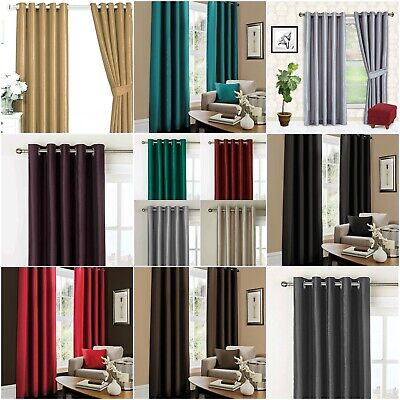 Bedding Heaven LUXURY PAIR OF FAUX SILK EYELET FULLY LINED CURTAINS & Tie-backs