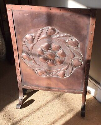 Superb Quality Arts & Crafts Art Nouveau Riveted Copper Fire Screen.