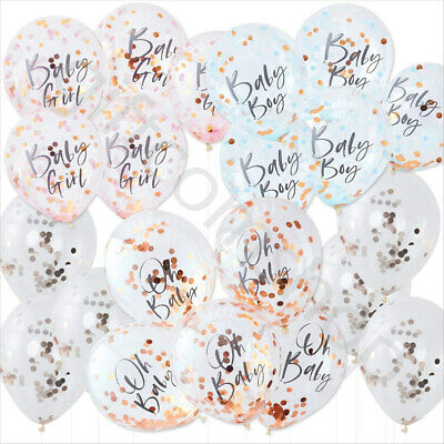Oh Baby Shower Rose Gold Confetti Balloons Boy Girl Gender Reveal Party Decor x5