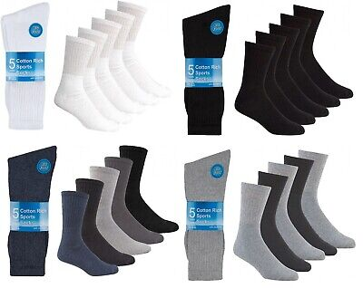 5 Pairs Of Mens Big Foot Cotton Running Performance Sport Socks Size 12-14 Large