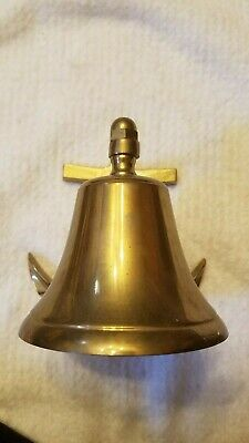 "Vintage nautical ships brass bell 5"" with anchor mounting bracket"