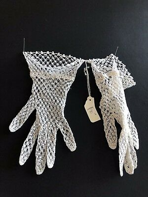Antique 1940 Lace Gloves Handmade New Like White Cotton Size 6