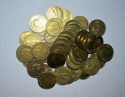 22. Lot Of 50 Brass Heads Tails Flip Coins T & A Girlie Tokens