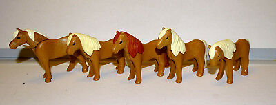 Playmobil - Lot  De 5 Poneys Modernes Couleurs Differentes - Occasion - Cheval