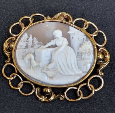 Antique Victorian Large Shell Cameo Brooch Pin Rare English Garden Scene