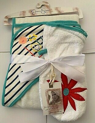 JESSICA SIMPSON BABY Girl 2pc Bath Set Gift Hooded Towel w/ mitten wash cloth