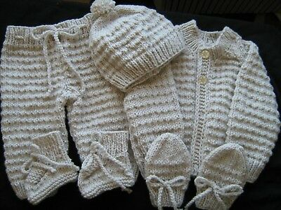 NEW,Hand Knit baby set, layette, Pram set..2 to 4 months 8 Ply, Baby Shower Gift