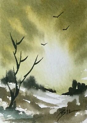 ACEO ATC original art painting by Bill Lupton - Yellow Morning