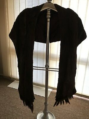 Vintage Genuine MINK Fur Stole- Dark Brown With Removeable Tails.