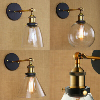 Antique Industrial Vintage Brass Arm Wall Sconce Light  Glass Shade Hallway Lamp