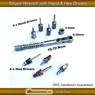 Dental Implant Torque Wrench Ratchet 10-70Ncm With Hand & Hex Drivers Set CE