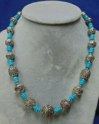 Awesome Southwest Graduated Turquoise And Bali .925 Sterling Silver Necklace
