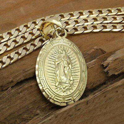 """Mens 18k Gold Plated Big Oval Guadalupe Brass  Pendant 6mm 24"""" Cuban  Chain"""
