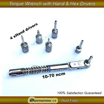 Dental Implant Torque Wrench Ratchet 10-70 NCM With Hand Driver Screws CE