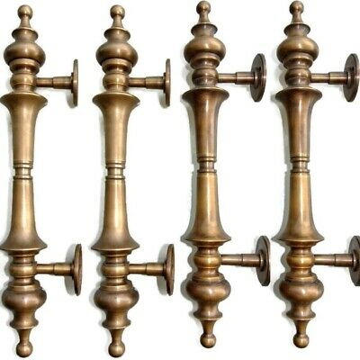 """4 large DOOR handle pulls solid SPUN hollow  brass vintage aged old style 12 """"B"""