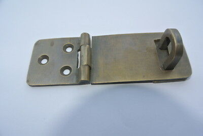 small box catch hasp latch aged brass old style house DOOR  heavy rectangle B