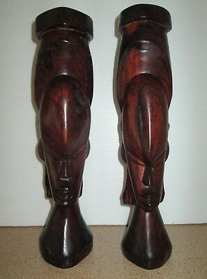 Wood Carved Pair of Tribal Statue Statues 33cms High Handcarved