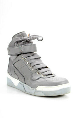 Givenchy Mens Leather Tyson High Top Sneakers Grey White Size 43 7ab79e37c