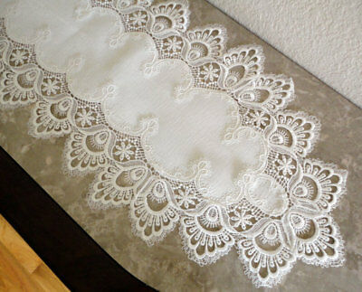 "Dresser Scarf Mantel DELICATE WHITE  Trim Lace Doily Mantle Runner  63"" x 12"""