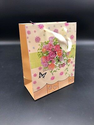 50 x Kraft Paper Shopping Carry Bags Gift Bag Cloth Handles Easter Bags