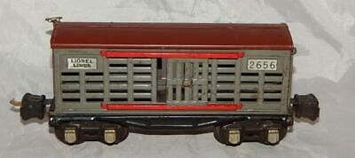 UNUSUAL Prewar Lionel 2656 Cattle car Gray red guides Tuscan roof Nickel plates