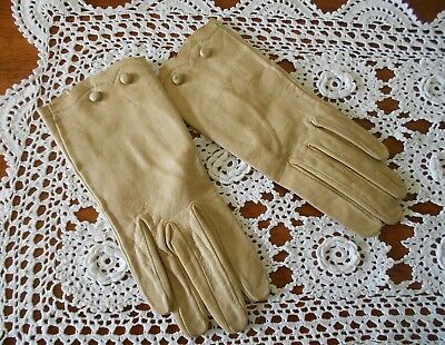 Vintage c1960s Ladies Soft Leather Gloves Marked Kir Glove England Fawn Size 7