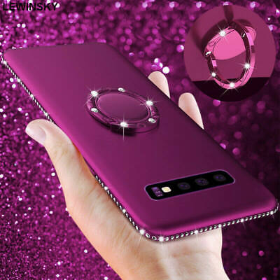 For Samsung Galaxy S10 Plus S9 S8 Bling Glitter Diamond Ring Stand Case Cover