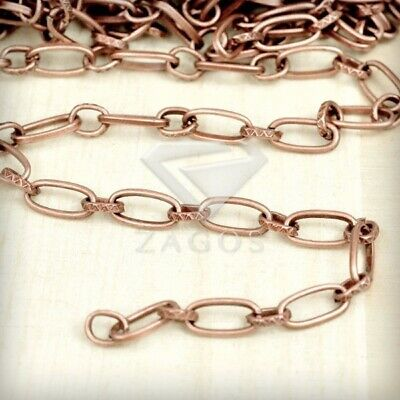 2m 6.56feet Unfinished Chains Textured Cable Necklace Antique Copper 8.8x3.7x1mm