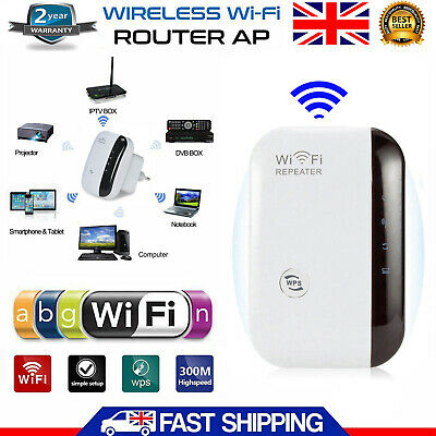 300Mbps WiFi Booster Wireless Router Range Extender Signal Repeater WPS UK