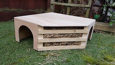 Corner Play Tunnel/Shelter For Guinea Pig/Small Rabbit With Built In Hayrack.