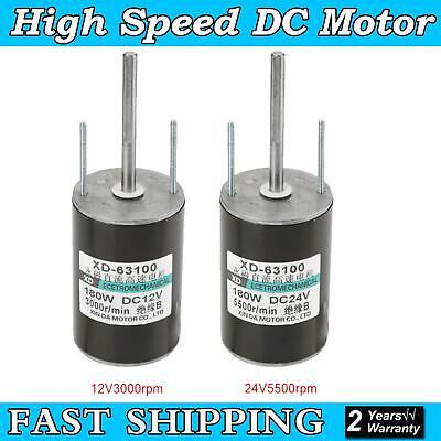 12/24V 150W Large Power High Speed Brush DC Motor CW/CCW For Generator New UK