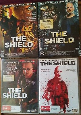 """THE SHIELD      """"COMPLETE SEASONS  1, 2, 3 & 5""""     R.4    DVD's"""