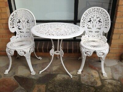 Vintage Cast Iron Garden Outdoor Patio Table & Chairs  (3 Pieces & Very Heavy )