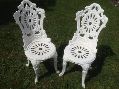 Vintage Cast Metal French Style Outdoor Garden  Chairs ( Pair )