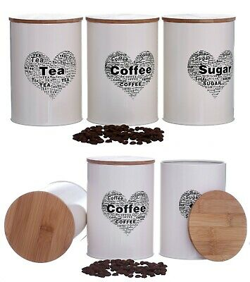 Set Of 3 Tea Coffee Sugar Canisters Set Retro Wooden Air Tight Lid Storage Jars