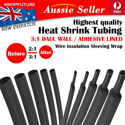 Black Heat Shrink Wire Sleeving Tube 3:1 Dual Wall Adhesive Lined 2:1 Cable Wrap