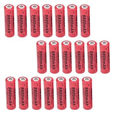20pcs 18650 Battery 9800mAh Li-ion 3.7V Rechargeable Lithium Batteries Cell Red