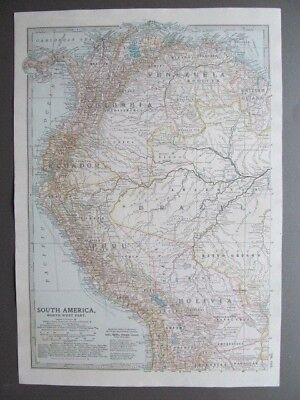 SOUTH AMERICA - NORTH-WEST PART  - ANTIQUE MAP - PUBLISHED  c.1900