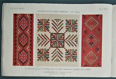 JUGOSLAVIAN EMBROIDERIES IInd antique 1920s sewing book cross stitch embroidery