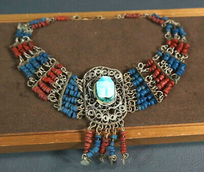 Egyptian Revival Turquoise Scarabeo Stone&Beads Necklace Filigree Silver Choker