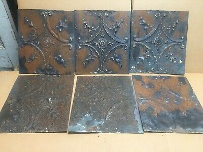 "6pc Lot of 11"" by 10"" Antique Ceiling Tin Vintage Reclaimed Salvage Art Craft"