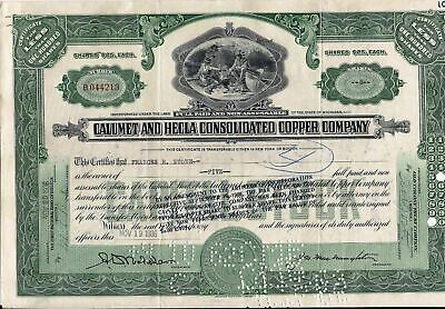 Stock certificate Calumet & Hecla Consolidated Copper Company+ attached document
